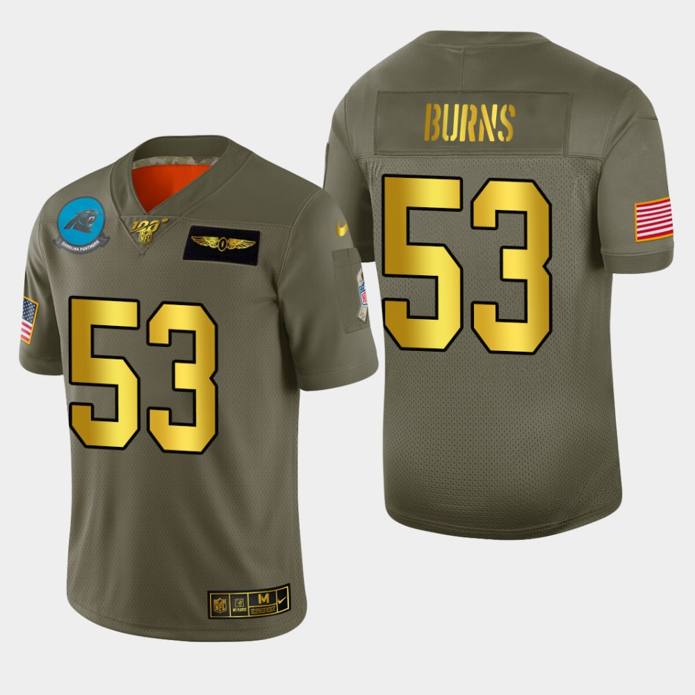 Carolina Panthers #53 Brian Burns Men's Nike Olive Gold 2019 Salute to Service Limited NFL 100 Jersey
