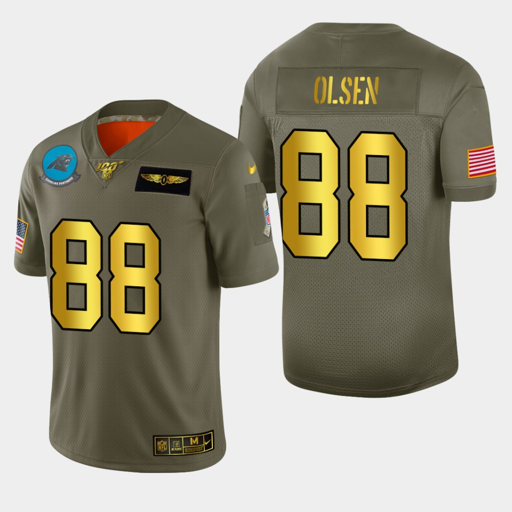 Carolina Panthers #88 Greg Olsen Men's Nike Olive Gold 2019 Salute to Service Limited NFL 100 Jersey