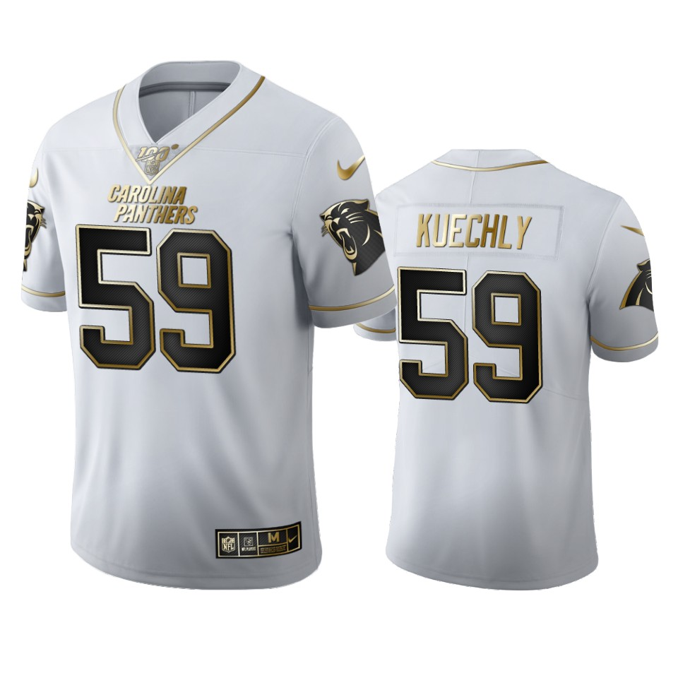 Carolina Panthers #59 Luke Kuechly Men's Nike White Golden Edition Vapor Limited NFL 100 Jersey