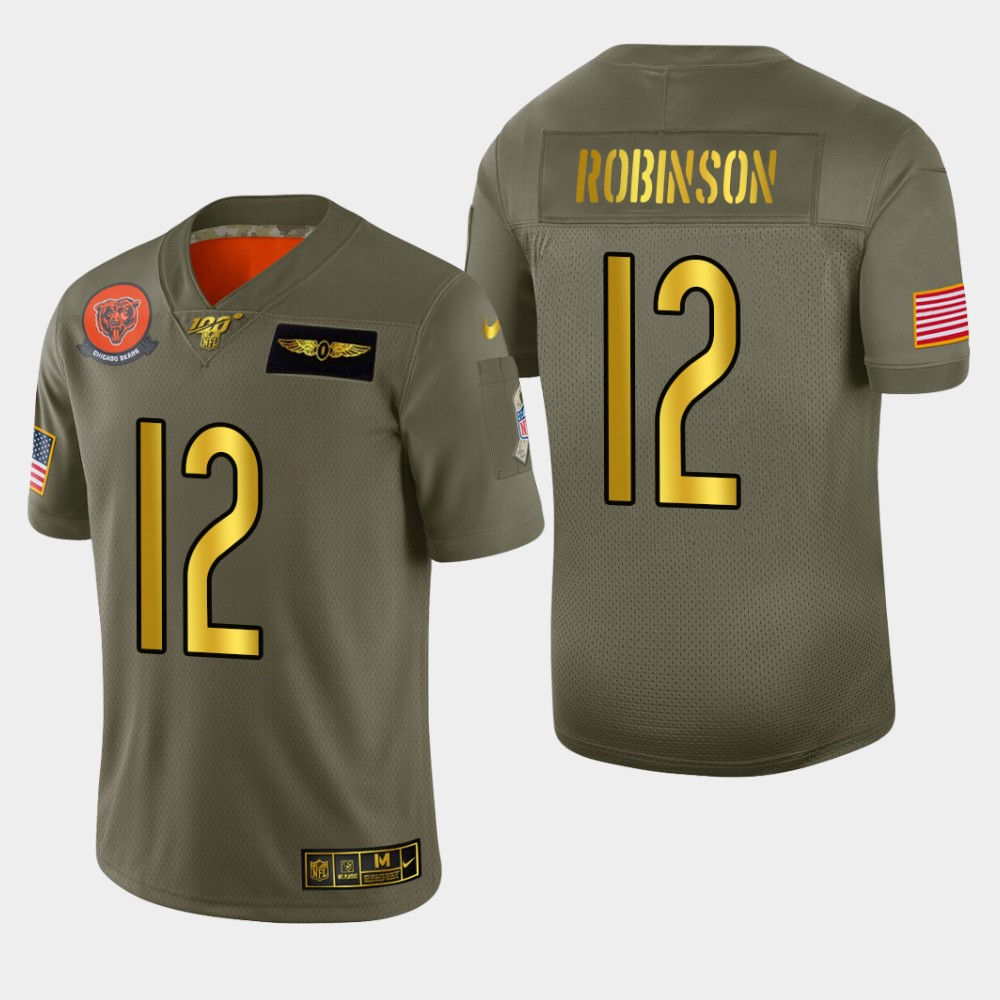 Chicago Bears #12 Allen Robinson II Men's Nike Olive Gold 2019 Salute to Service Limited NFL 100 Jersey