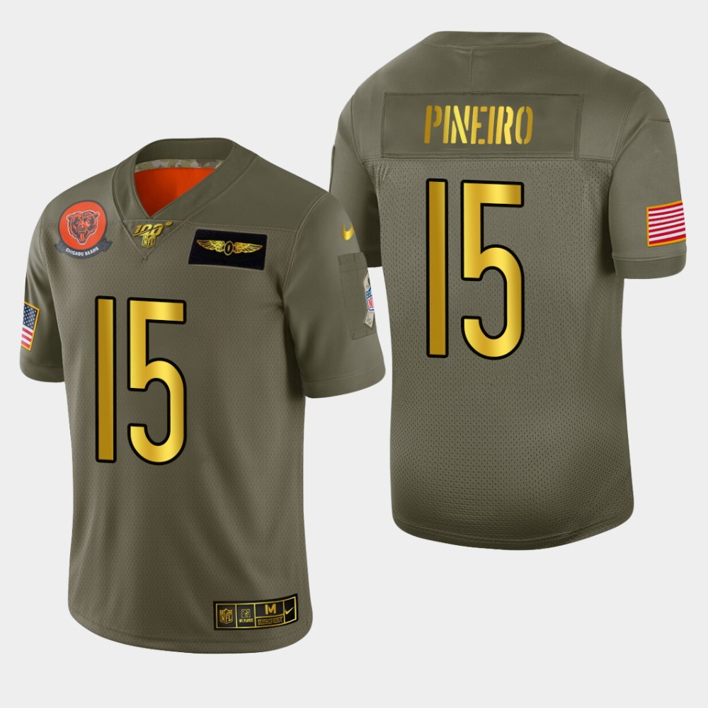 Chicago Bears #15 Eddy Pineiro Men's Nike Olive Gold 2019 Salute to Service Limited NFL 100 Jersey