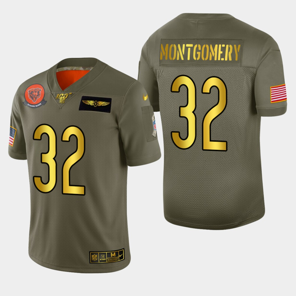 Chicago Bears #32 David Montgomery Men's Nike Olive Gold 2019 Salute to Service Limited NFL 100 Jersey