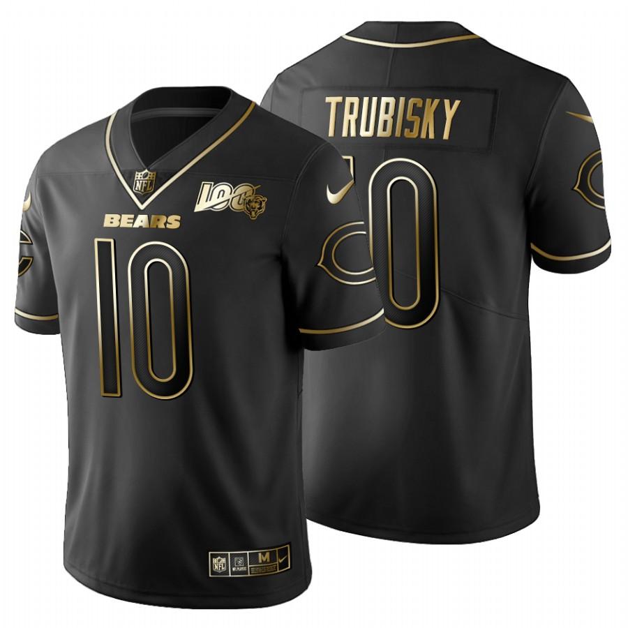 Chicago Bears #10 Mitchell Trubisky Men's Nike Black Golden Limited NFL 100 Jersey