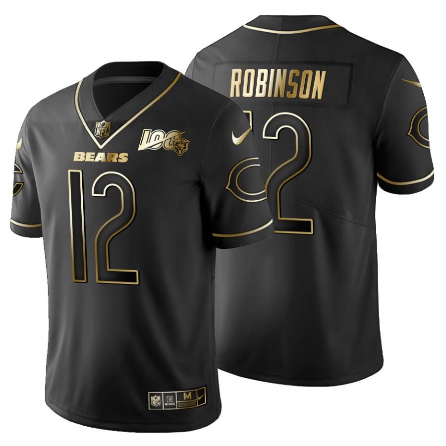 Chicago Bears #12 Allen Robinson Men's Nike Black Golden Limited NFL 100 Jersey