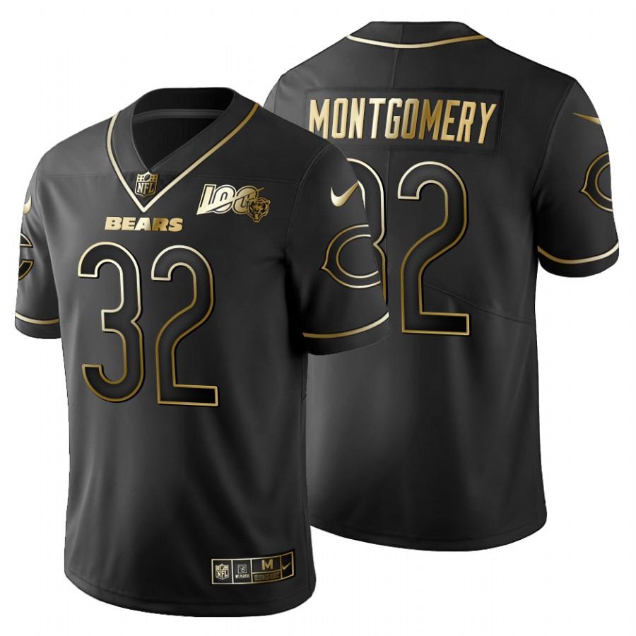 Chicago Bears #32 David Montgomery Men's Nike Black Golden Limited NFL 100 Jersey
