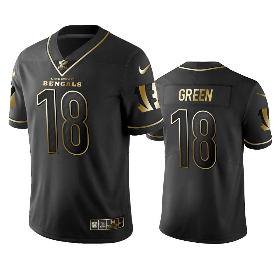 Bengals #18 A.J. Green Men's Stitched NFL Vapor Untouchable Limited Black Golden Jersey