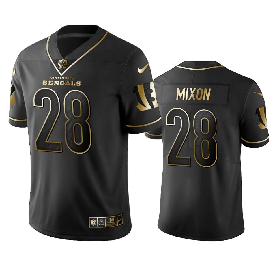 Bengals #28 Joe Mixon Men's Stitched NFL Vapor Untouchable Limited Black Golden Jersey