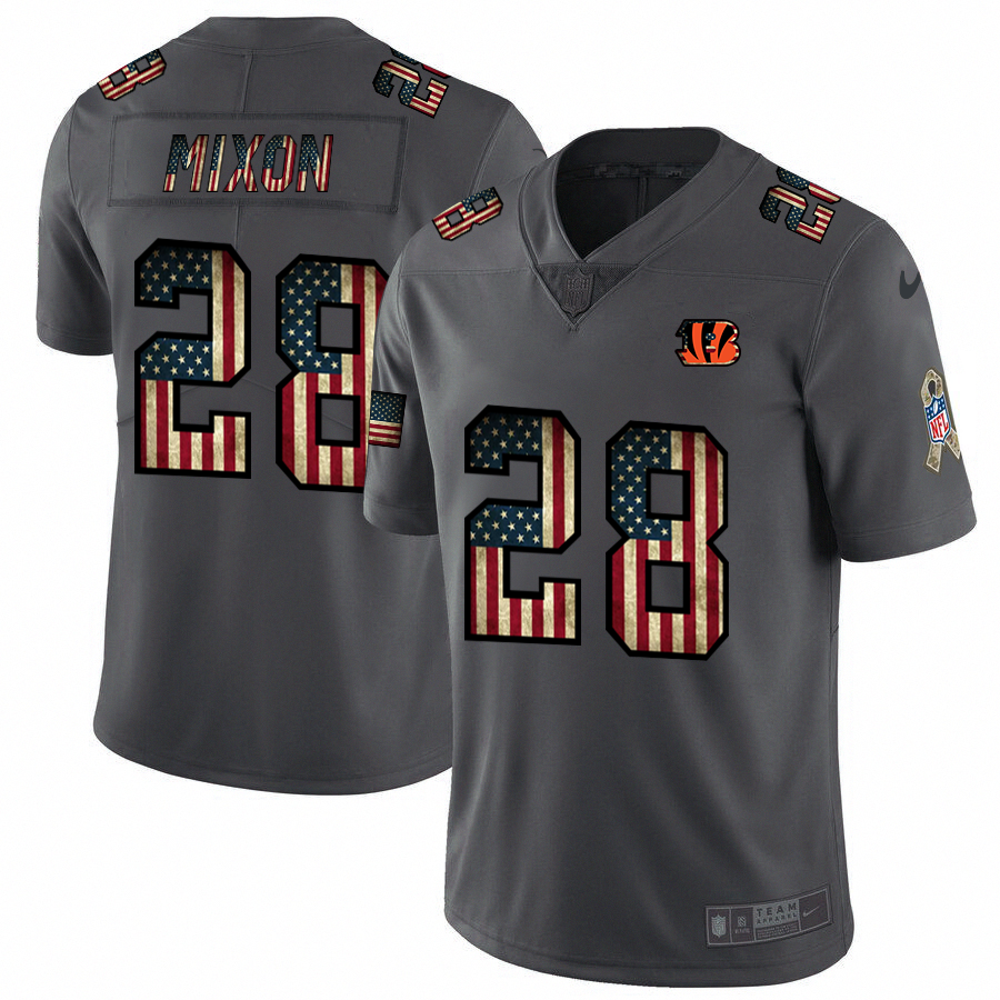 Cincinnati Bengals #28 Joe Mixon Nike 2018 Salute to Service Retro USA Flag Limited NFL Jersey