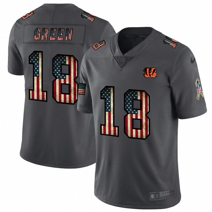 Nike Bengals #18 A.J. Green 2018 Salute To Service Retro USA Flag Limited NFL Jersey