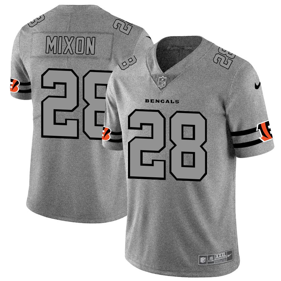 Cincinnati Bengals #28 Joe Mixon Men's Nike Gray Gridiron II Vapor Untouchable Limited NFL Jersey