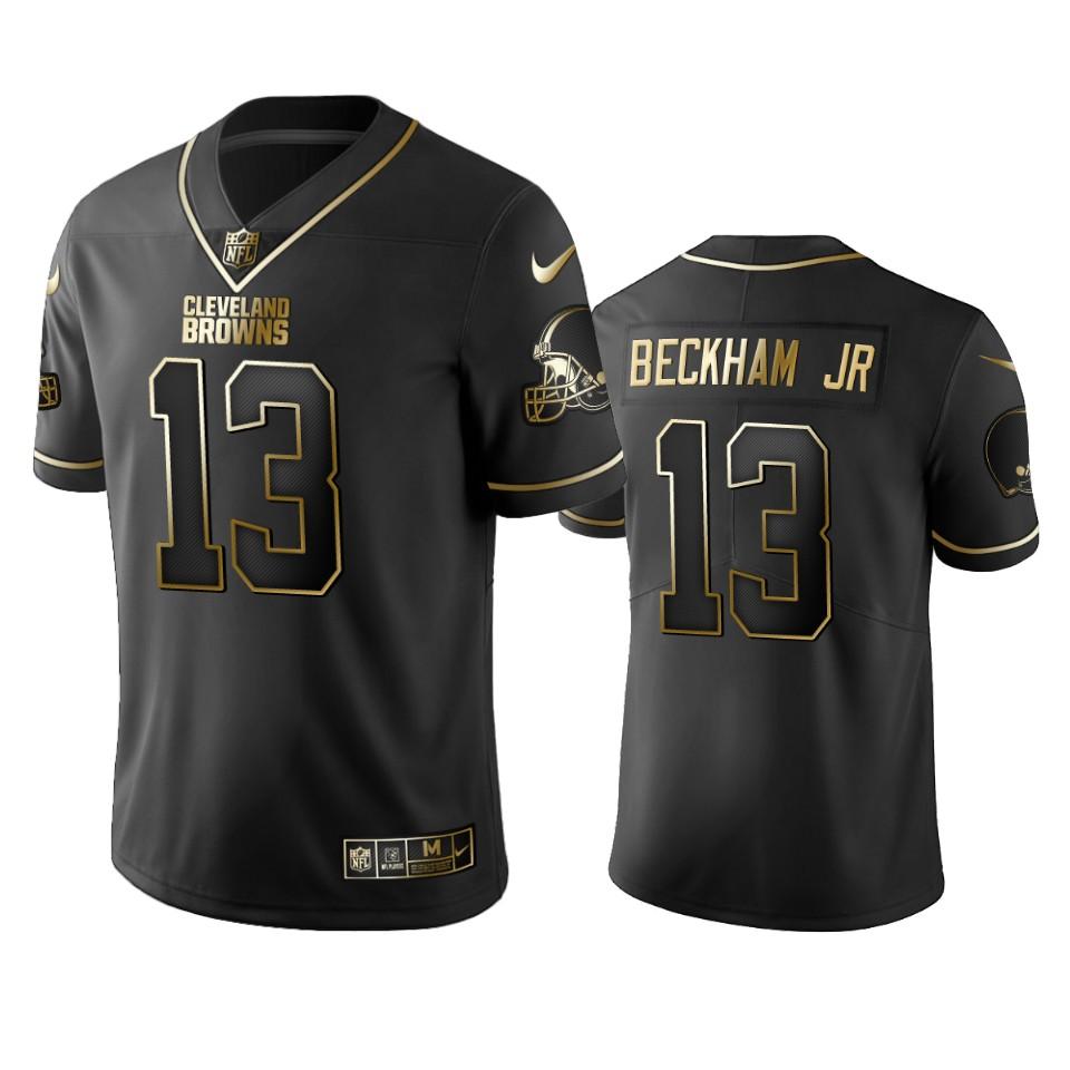 Browns #13 Odell Beckham Jr Men's Stitched NFL Vapor Untouchable Limited Black Golden Jersey