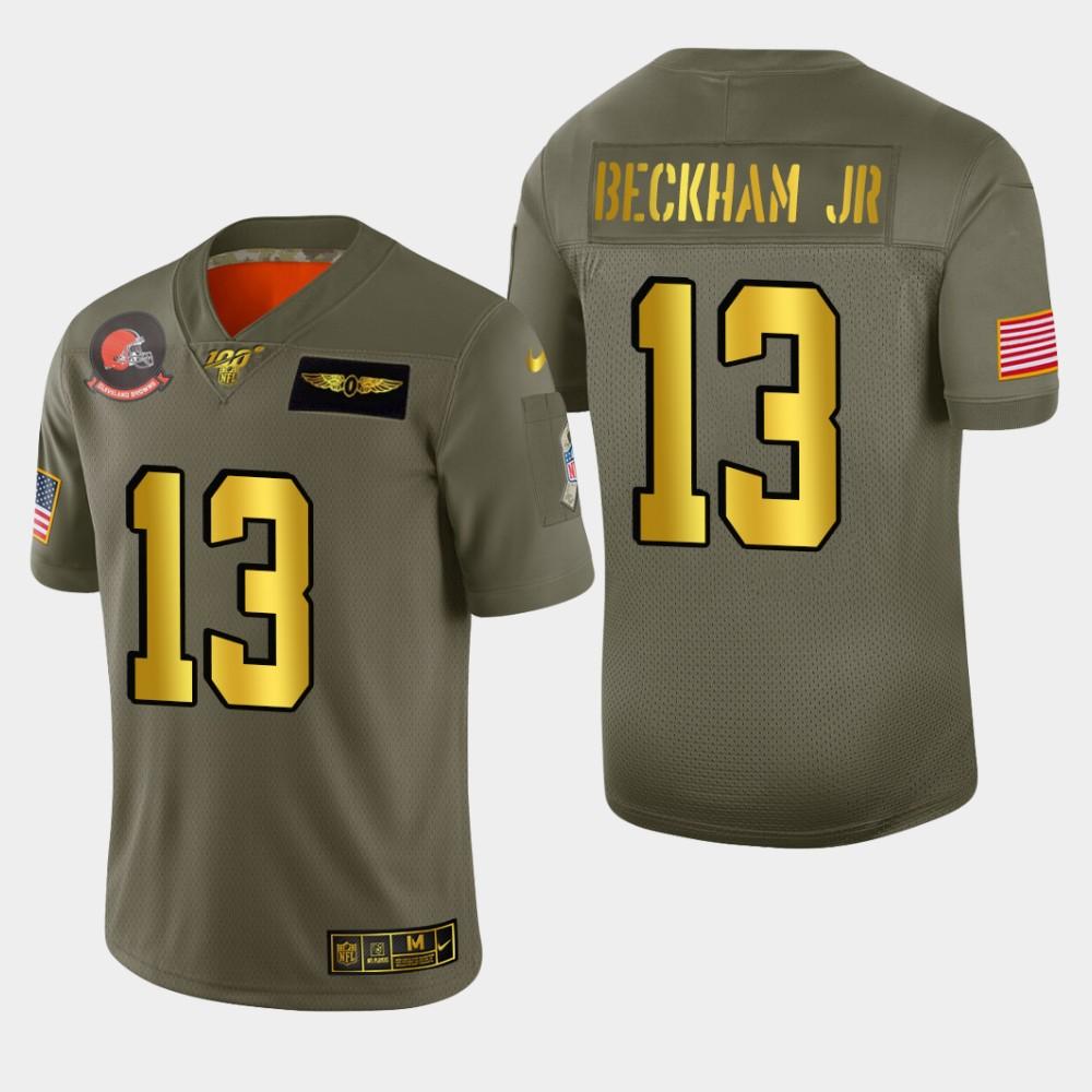 Nike Browns #13 Odell Beckham Jr. Men's Olive Gold 2019 Salute to Service NFL 100 Limited Jersey