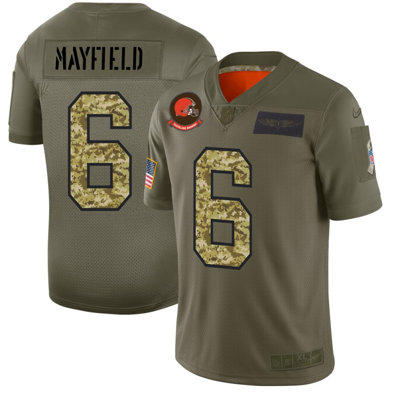 Cleveland Browns #6 Baker Mayfield Men's Nike 2019 Olive Camo Salute To Service Limited NFL Jersey