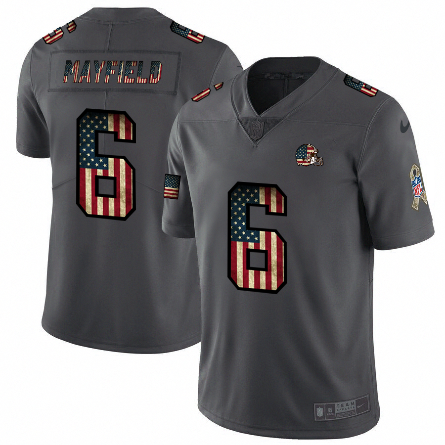 Nike Browns #6 Baker Mayfield 2018 Salute To Service Retro USA Flag Limited NFL Jersey