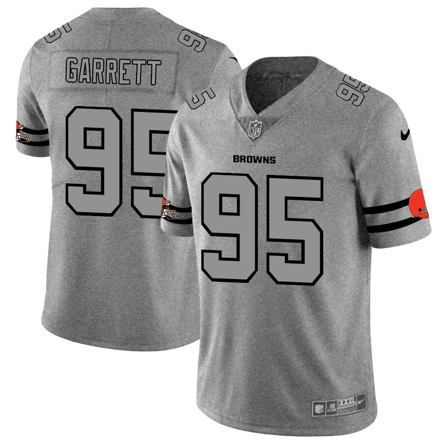 Cleveland Browns #95 Myles Garrett Men's Nike Gray Gridiron II Vapor Untouchable Limited NFL Jersey