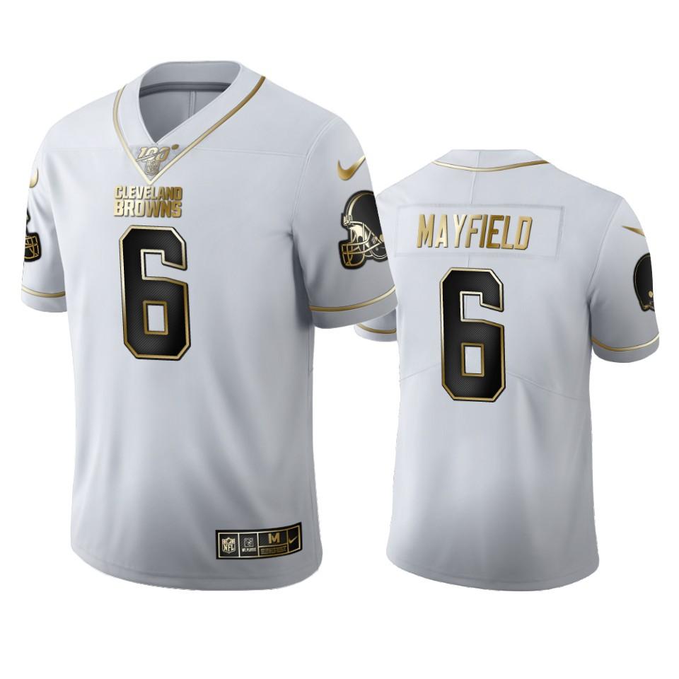 Cleveland Browns #6 Baker Mayfield Men's Nike White Golden Edition Vapor Limited NFL 100 Jersey