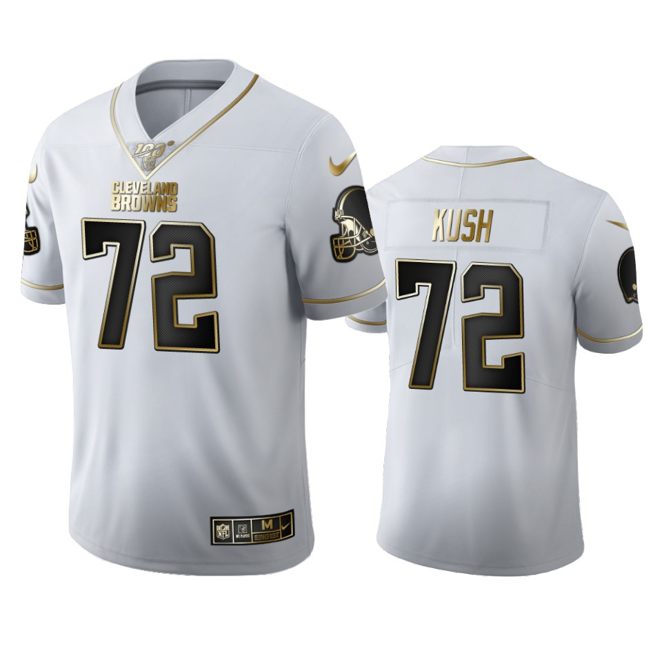 Cleveland Browns #72 Eric Kush Men's Nike White Golden Edition Vapor Limited NFL 100 Jersey