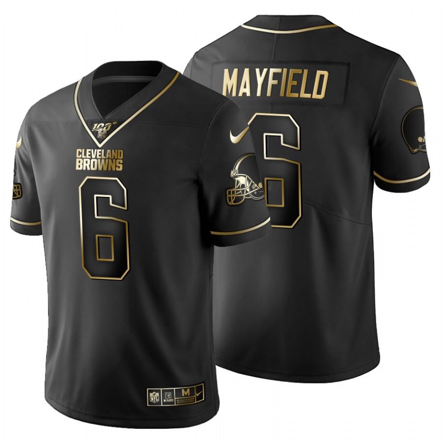 Cleveland Browns #6 Baker Mayfield Men's Nike Black Golden Limited NFL 100 Jersey