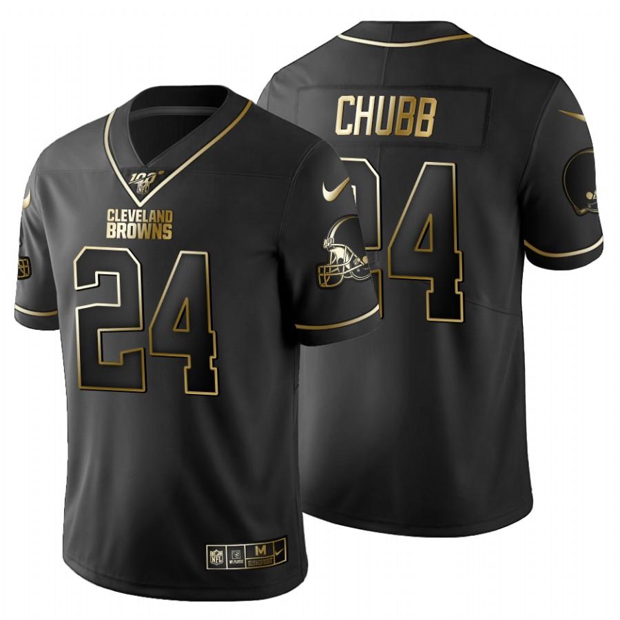 Cleveland Browns #24 Nick Chubb Men's Nike Black Golden Limited NFL 100 Jersey