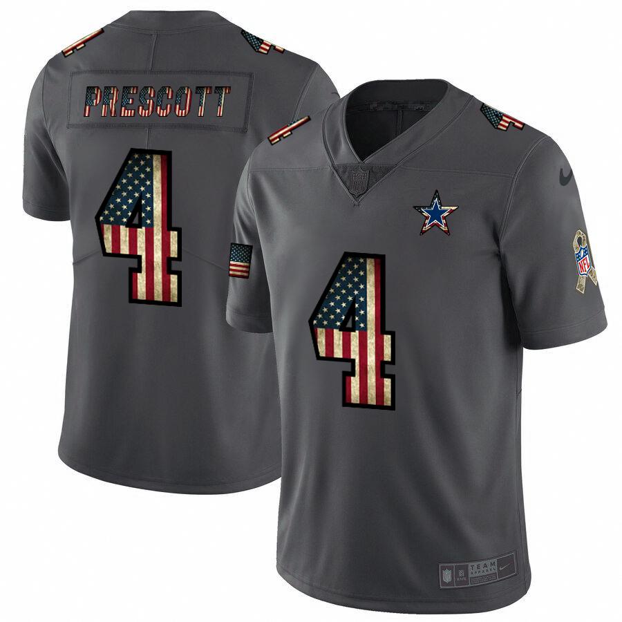 Dallas Cowboys #4 Dak Prescott Nike 2018 Salute to Service Retro USA Flag Limited NFL Jersey