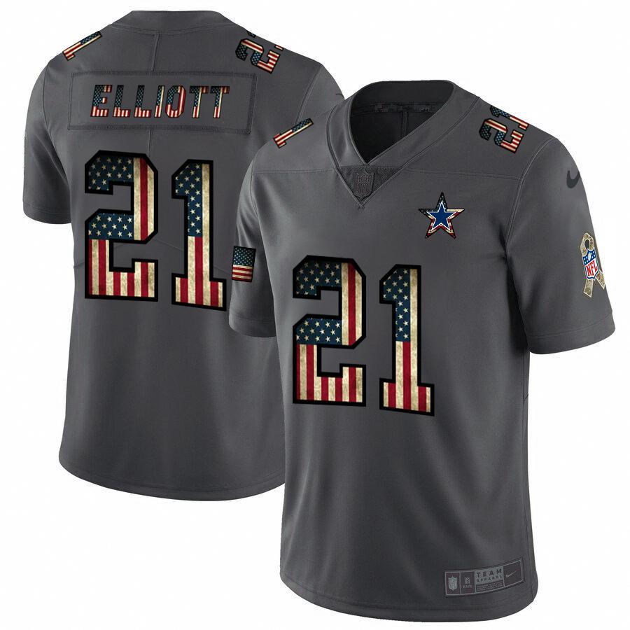Dallas Cowboys #21 Ezekiel Elliott Nike 2018 Salute to Service Retro USA Flag Limited NFL Jersey