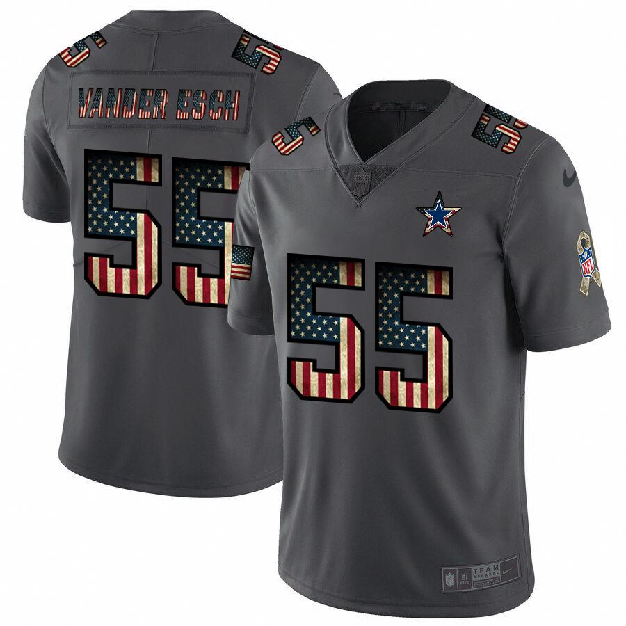 Dallas Cowboys #55 Leighton Vander Esch Nike 2018 Salute to Service Retro USA Flag Limited NFL Jersey