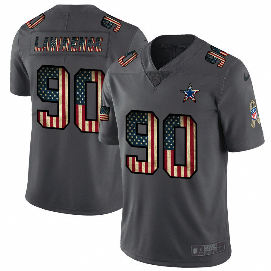 Dallas Cowboys #90 Demarcus Lawrence Nike 2018 Salute to Service Retro USA Flag Limited NFL Jersey