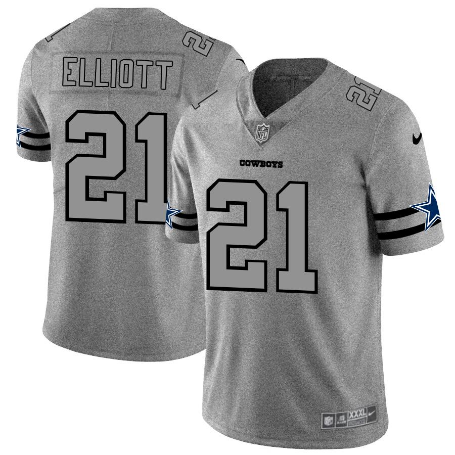 Dallas Cowboys #21 Ezekiel Elliott Men's Nike Gray Gridiron II Vapor Untouchable Limited NFL Jersey