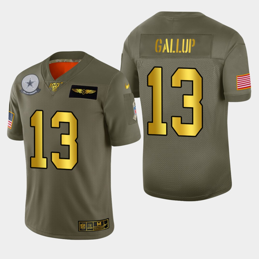 Dallas Cowboys #13 Michael Gallup Men's Nike Olive Gold 2019 Salute to Service Limited NFL 100 Jersey