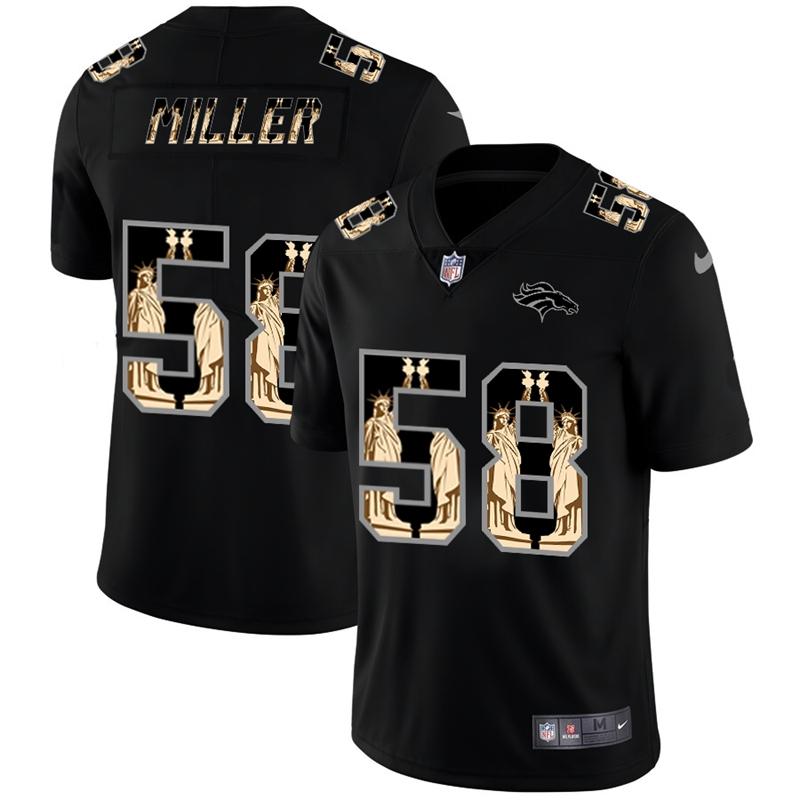 Denver Broncos #58 Von Miller Carbon Black Vapor Statue Of Liberty Limited NFL Jersey