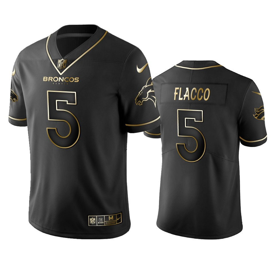 Broncos #5 Joe Flacco Men's Stitched NFL Vapor Untouchable Limited Black Golden Jersey