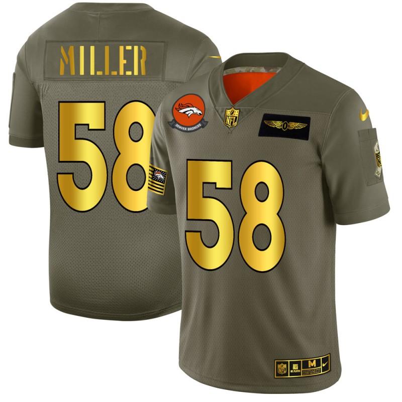 Denver Broncos #58 Von Miller NFL Men's Nike Olive Gold 2019 Salute to Service Limited Jersey