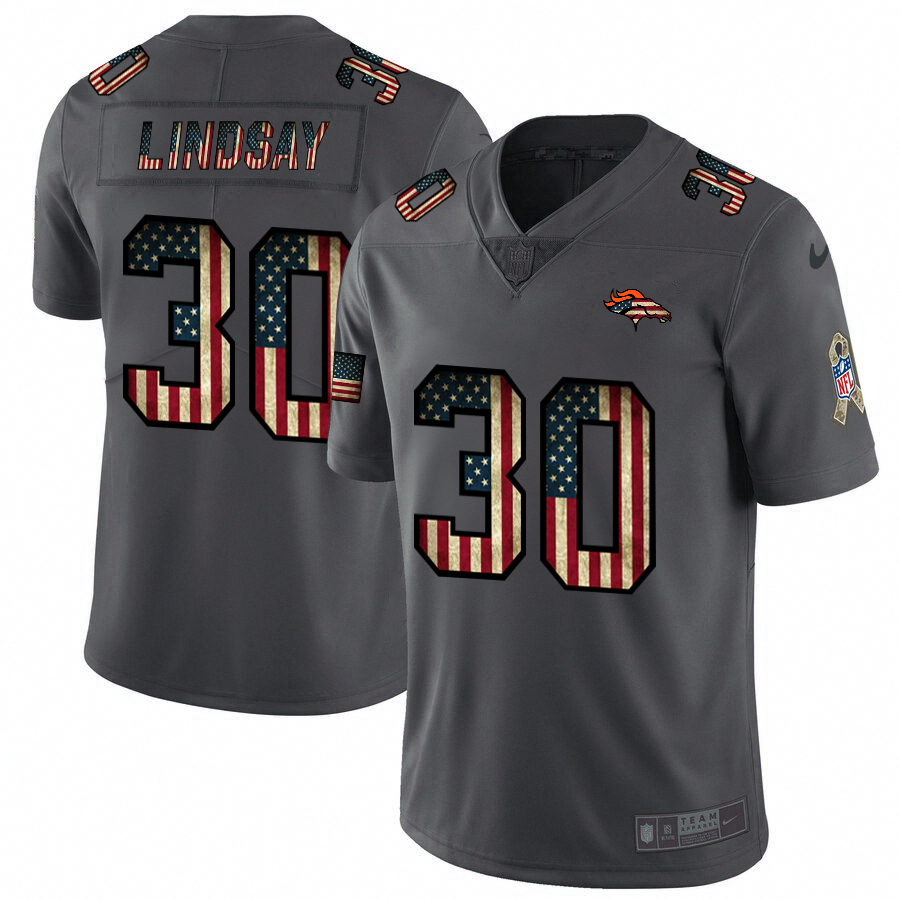 Denver Broncos #30 Phillip Lindsay Nike 2018 Salute to Service Retro USA Flag Limited NFL Jersey