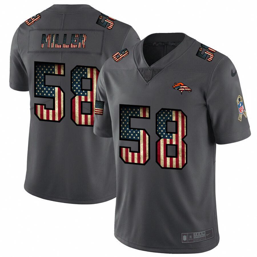 Denver Broncos #58 Von Miller Nike 2018 Salute to Service Retro USA Flag Limited NFL Jersey