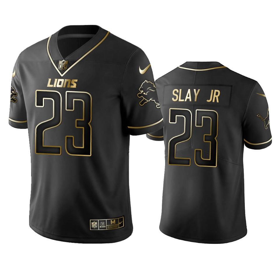 Lions #23 Darius Slay Jr Men's Stitched NFL Vapor Untouchable Limited Black Golden Jersey