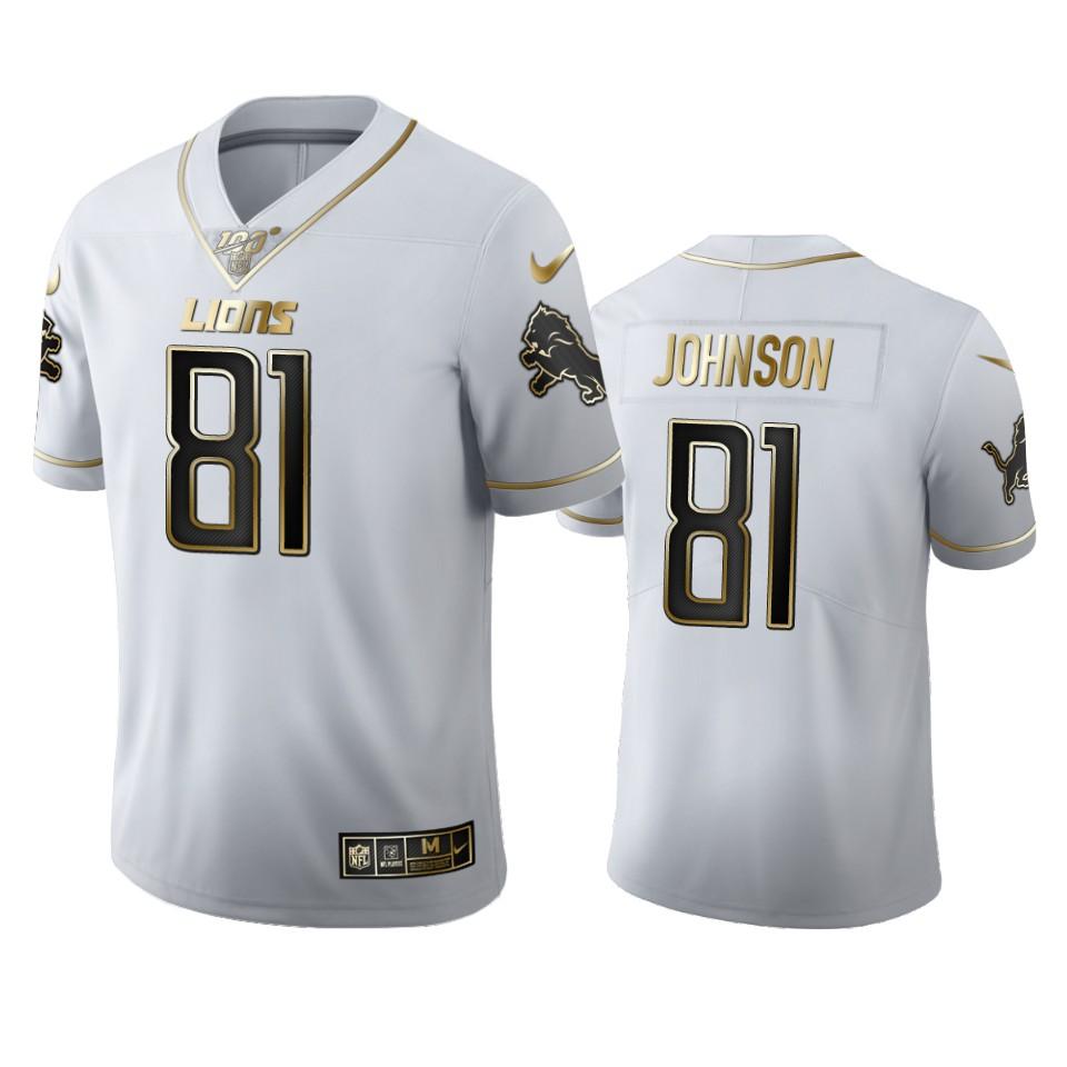 Detroit Lions #81 Calvin Johnson Men's Nike White Golden Edition Vapor Limited NFL 100 Jersey