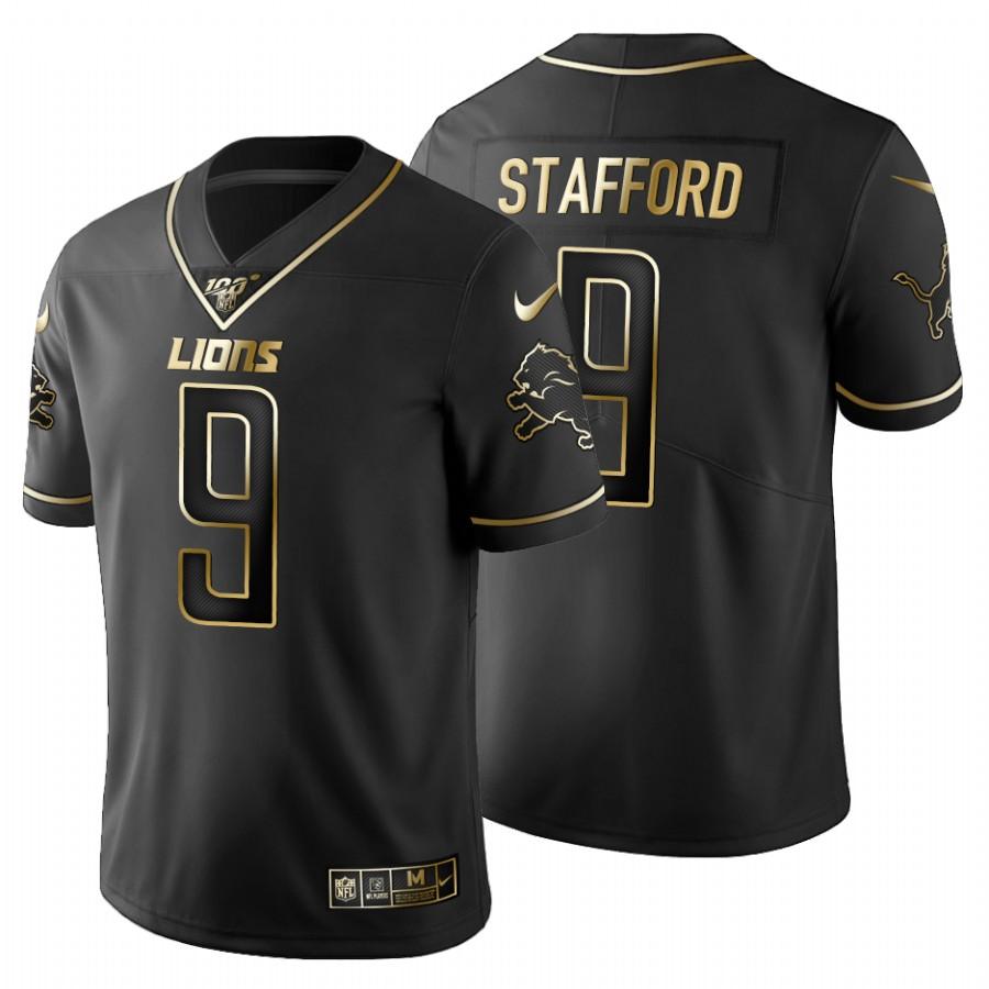Detroit Lions #9 Matthew Stafford Men's Nike Black Golden Limited NFL 100 Jersey