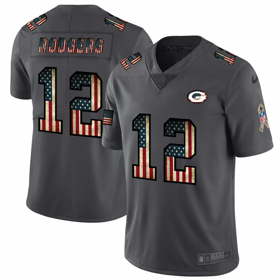 Green Bay Packers #12 Aaron Rodgers Nike 2018 Salute to Service Retro USA Flag Limited NFL Jersey