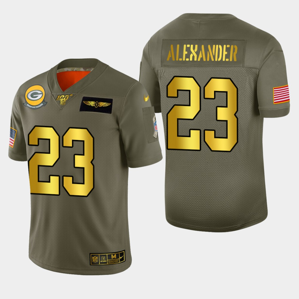 Nike Packers #23 Jaire Alexander Men's Olive Gold 2019 Salute to Service NFL 100 Limited Jersey