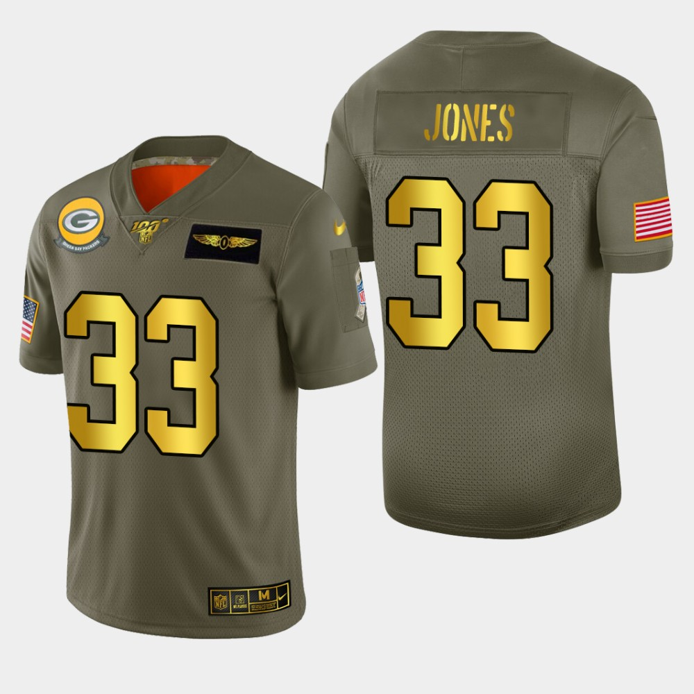 Nike Packers #33 Aaron Jones Men's Olive Gold 2019 Salute to Service NFL 100 Limited Jersey