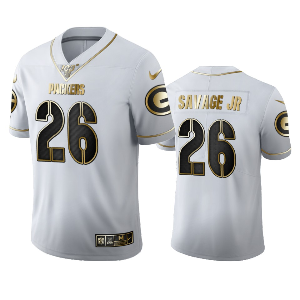 Green Bay Packers #26 Darnell Savage Jr. Men's Nike White Golden Edition Vapor Limited NFL 100 Jersey
