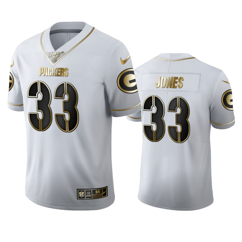 Green Bay Packers #33 Aaron Jones Men's Nike White Golden Edition Vapor Limited NFL 100 Jersey