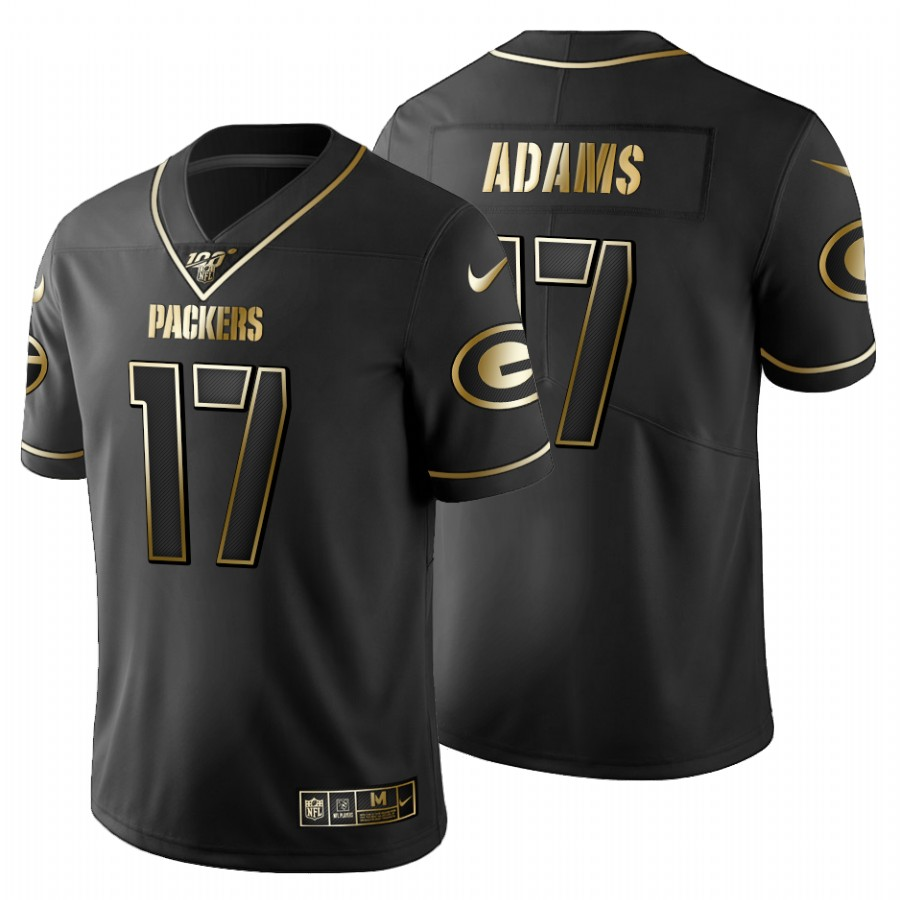 Green Bay Packers #17 Davante Adams Men's Nike Black Golden Limited NFL 100 Jersey