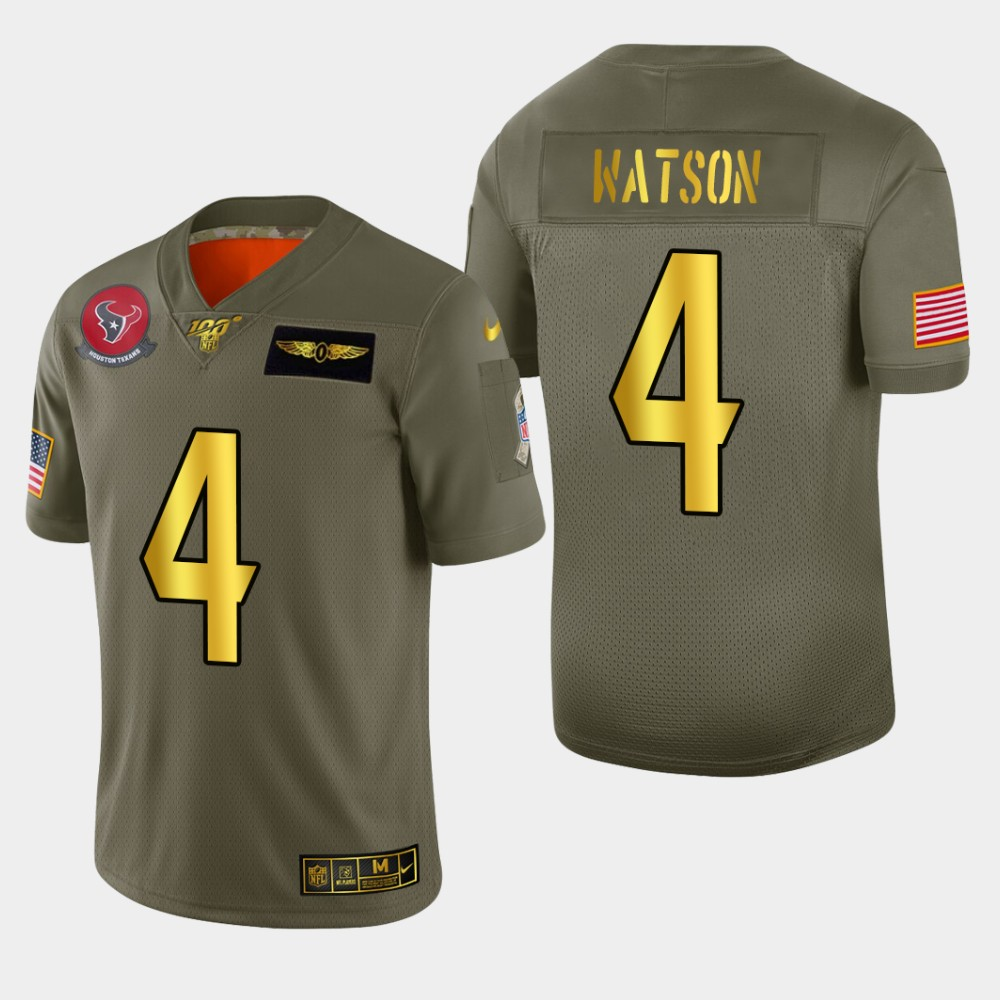 Nike Texans #4 Deshaun Watson Men's Olive Gold 2019 Salute to Service NFL 100 Limited Jersey