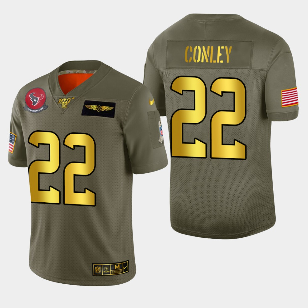 Nike Texans #22 Gareon Conley Men's Olive Gold 2019 Salute to Service NFL 100 Limited Jersey