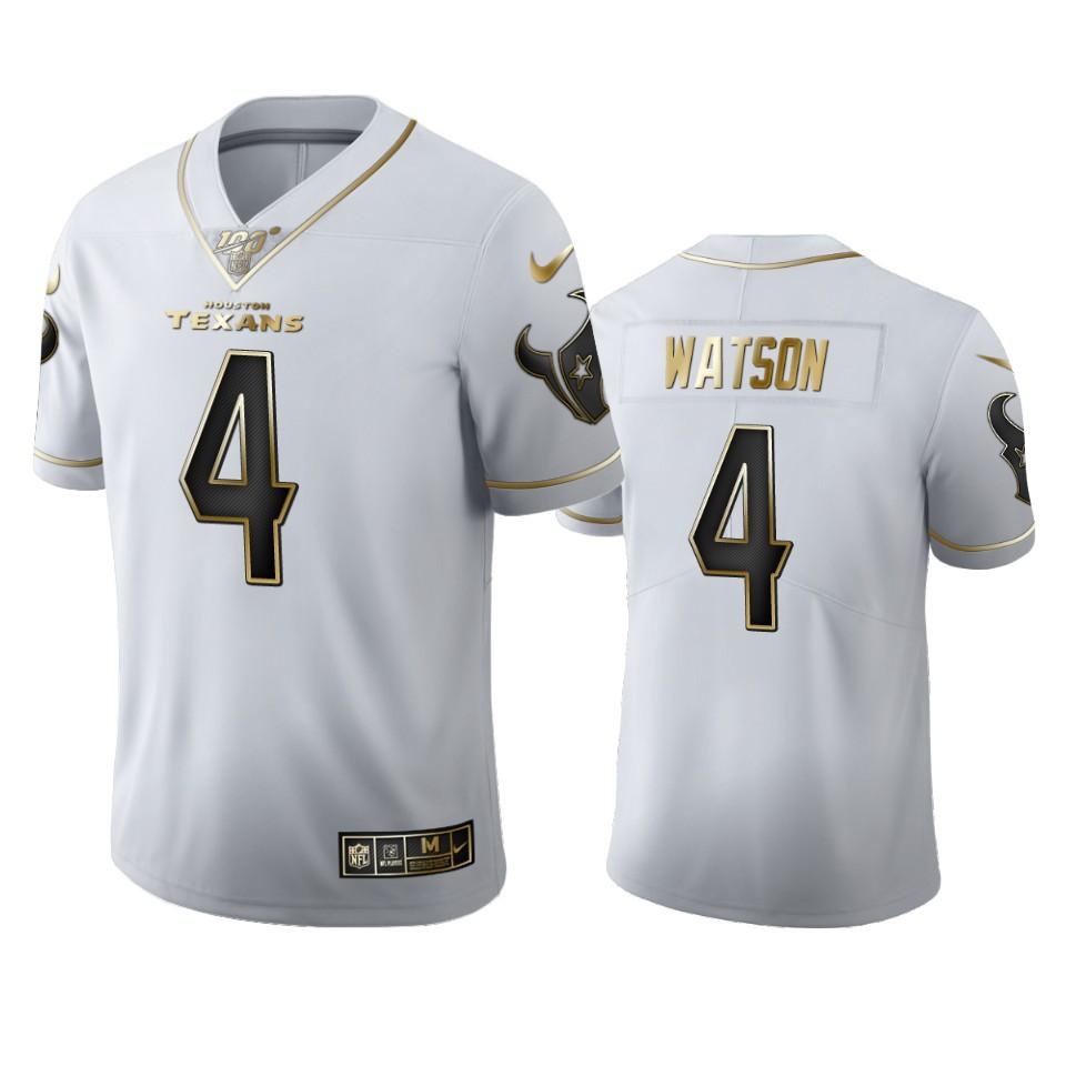 Houston Texans #4 DeAndre Hopkins Watson Men's Nike White Golden Edition Vapor Limited NFL 100 Jersey