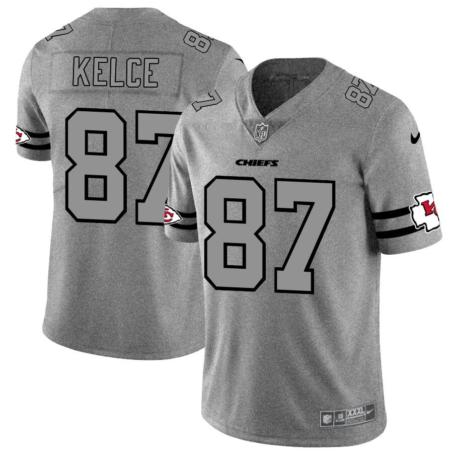 Kansas City Chiefs #87 Travis Kelce Men's Nike Gray Gridiron II Vapor Untouchable Limited NFL Jersey