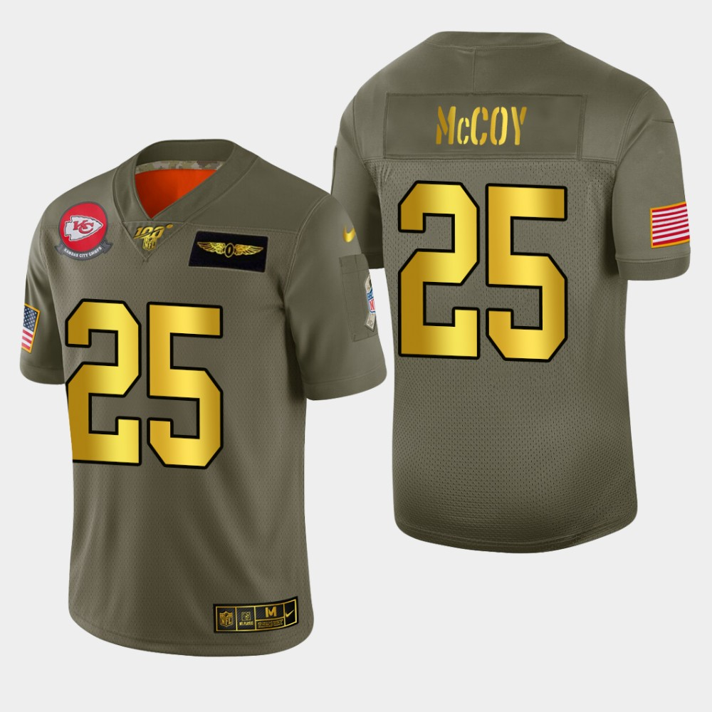 Kansas City Chiefs #25 LeSean McCoy Men's Nike Olive Gold 2019 Salute to Service Limited NFL 100 Jersey
