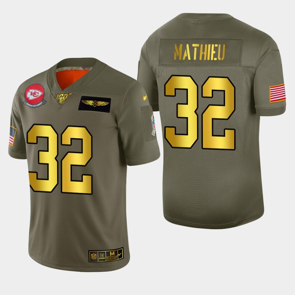Kansas City Chiefs #32 Tyrann Mathieu Men's Nike Olive Gold 2019 Salute to Service Limited NFL 100 Jersey