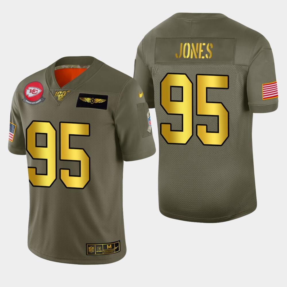 Kansas City Chiefs #95 Chris Jones Men's Nike Olive Gold 2019 Salute to Service Limited NFL 100 Jersey